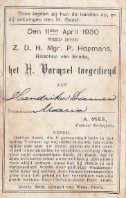 Het H. Vormsel ontvangen kon in Langeweg niet